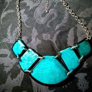 Vintage Jewelry - Vintage Aqua Plastic Stone Necklace